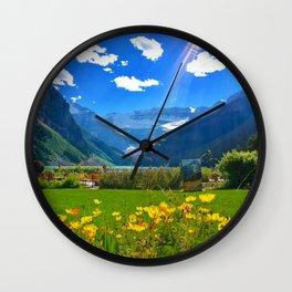 Lake Louise, Beautiful Day Wall Clock