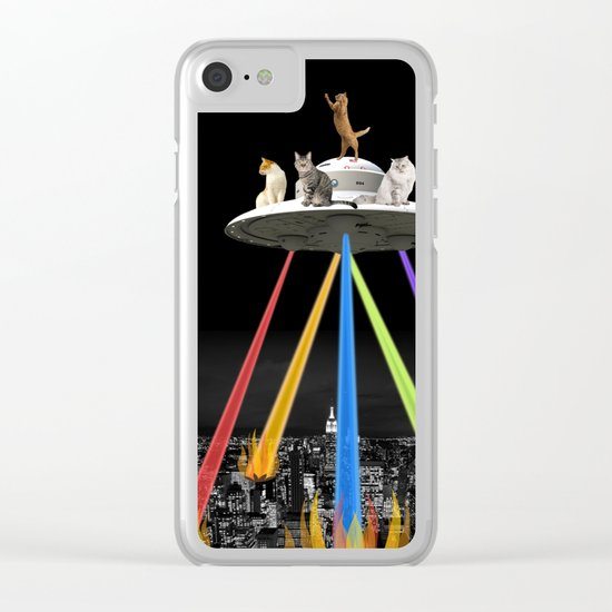 CAT INVADERS Clear iPhone Case