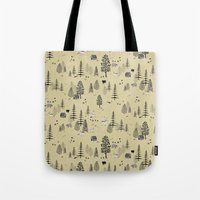 forrest Tote Bags featuring Forrest Pattern by Mai Ly Degnan