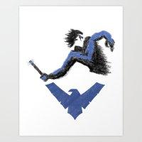 nightwing Art Prints featuring Nightwing by dudesweet
