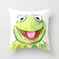kermit Throw Pillows featuring Kermit Portrait by Olechka