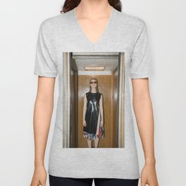 Woman in Elevator Unisex V-Neck