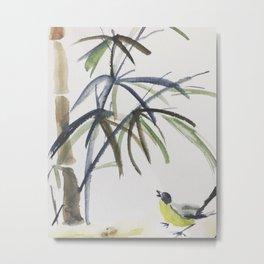 Bird Bambus Watercolor Metal Print