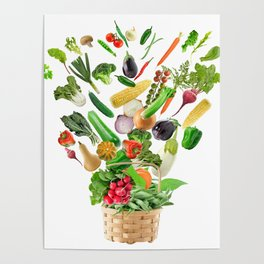 Basket of Healthy Food isolated On White Background Poster