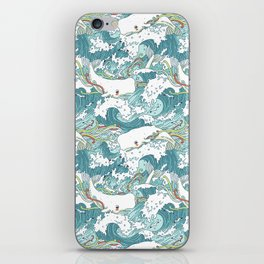 Whales and waves pattern iPhone Skin