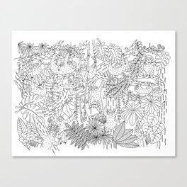 Happy Sloths Jungle - Line Art Canvas Print