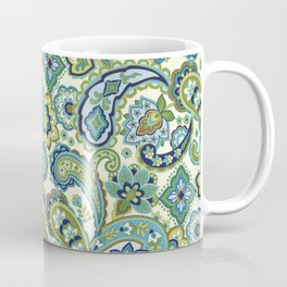 Blue and Green Paisley Coffee Mug