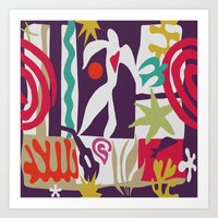 matisse Art Prints featuring Inspired to Matisse (violet) by Chicca Besso