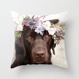 Flower Crown Beautiful Dog Portrait Throw Pillow