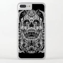 2 FACES SKULL Clear iPhone Case