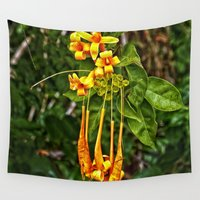 trumpet Wall Tapestries featuring Beautiful orange trumpet flowers by Wendy Townrow
