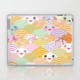 seamless pattern Kawaii with pink cheeks and winking eyes with japanese sakura flower Laptop & iPad Skin