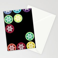 Colorful Snowflake Print: Black Stationery Cards