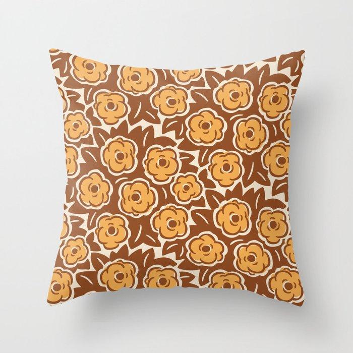 Flower Bouquet Pattern Brown and Yellow Ochre Throw Pillow