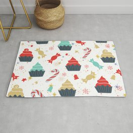 Colorful Christmas cupcakes and candy cane pattern Rug