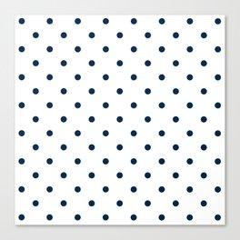 Navy Blue & White Polka Dots Canvas Print