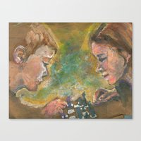 chess Canvas Prints featuring Chess by Spinning Daydreams