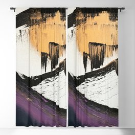 Axis [2]: a bold, minimal abstract in gold, purple, blue, black and white Blackout Curtain