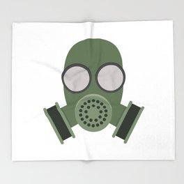 Army Gasmask Throw Blanket