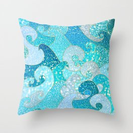 Mermaid Waves And Sea Faux Glitter - Sun Light Over The Ocean Throw Pillow