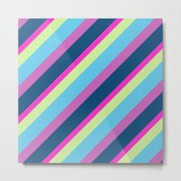 Summer fun Blue pink lime Colorful lines Metal Print