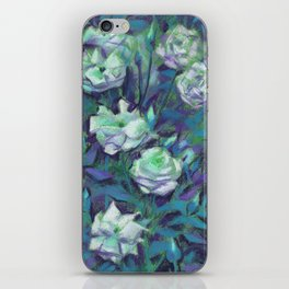 White roses, blue leaves iPhone Skin