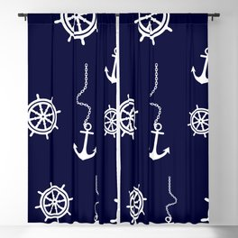 Nautical Navy Pattern with Anchors and Steering Wheels Blackout Curtain