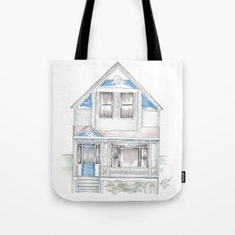 Blue Folk Victorian House Tote Bag