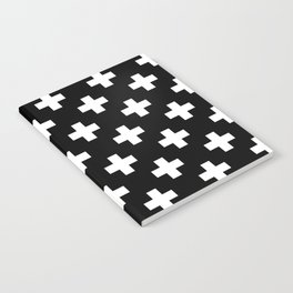 Black & White Plus Sign Pattern Notebook