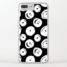 White Swirls Abstract Pattern Clear iPhone Case