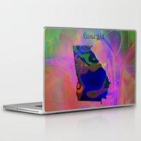 georgia Laptop & iPad Skins featuring Georgia Map by Roger Wedegis