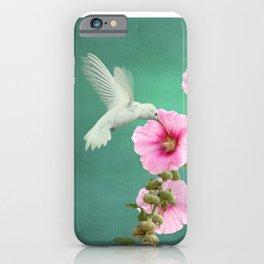 Albino Hummingbird And Wildflower iPhone Case