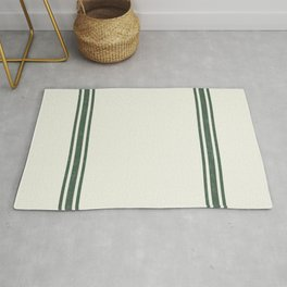 Vintage Country French Grainsack Green Stripes Creme Background Rug