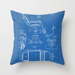 Barbers Chair Patent - Barber Art - Blueprint Throw Pillow