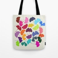 camus Tote Bags featuring Ginkgo Multicolor by Garima Dhawan