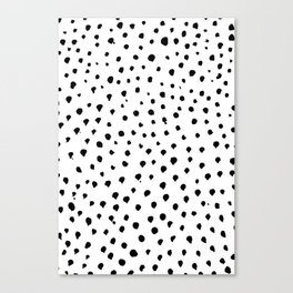 Dalmatian dots black Canvas Print