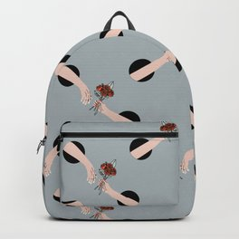 In Love - hands with flowers - GRAY #pattern Backpack