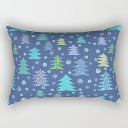 Winter Christmas Trees and Snowflakes in Purple, Blue and Green Rectangular Pillow