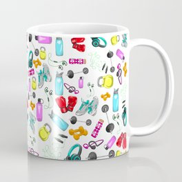 Work Out Items Pattern Coffee Mug