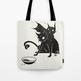 Creepy Cute Three Headed Black Cat Artwork Tote Bag