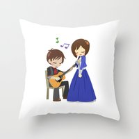 bioshock infinite Throw Pillows featuring Bioshock Infinite - Booker and Elizabeth by Choco-Minto