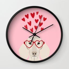Dachshund valentines day love heart gifts dog breed doxie must haves Wall Clock