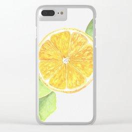 Yellow Lemon Slice Clear iPhone Case