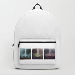 Up close portraits.  Three brothers. Backpack