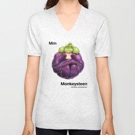 Mm - Monkeysteen // Half Monkey, Half Mangosteen Unisex V-Neck