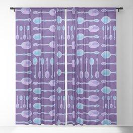 Unique Artsy Spoons! (Purple) Sheer Curtain