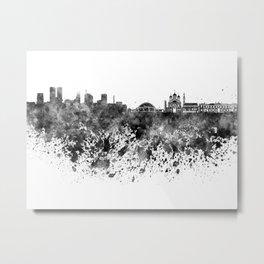 Tallinn skyline in black watercolor on white background Metal Print