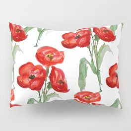 Watercolor Red Poppies Pillow Sham