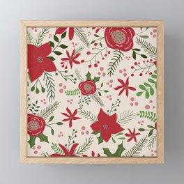 Holiday Flowers- Cream Framed Mini Art Print