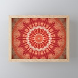 Dark Orange Mandala Design Framed Mini Art Print